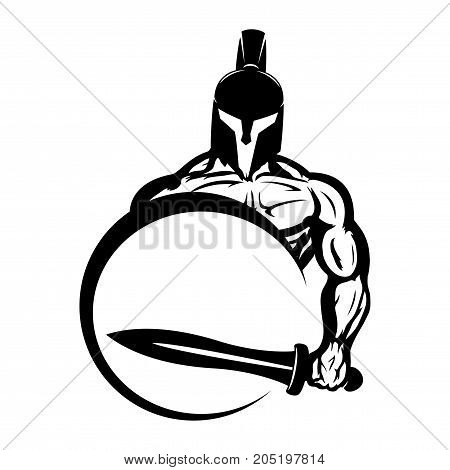 Spartan with a sword and shield on a white background.