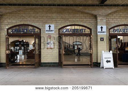 Hoboken NJ USA -- September 19 2017 -- Open doors to the waiting room of the Hoboken train station. Editorial Use Only.