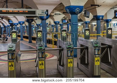 Hoboken NJ USA -- September 19 2017 --Entry turnstiles to the New York New Jersey PATH Tubes in Hoboken. Editorial use only.