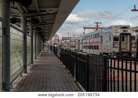 Hoboken NJ USA -- September 19 2017 --Trains waiting in the Hoboken Train terminal. Editorial use only.