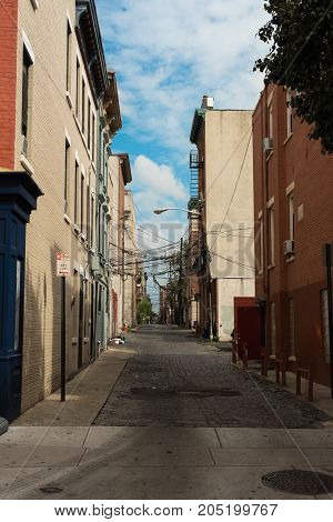A small alley off the main road in Hoboken