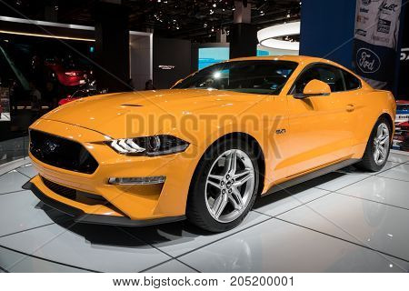 New Yellow 2018 Ford Mustang Gt Sports Car