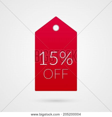 15 percent off shopping tag vector icon. Red and white isolated discount symbol. Illustration sign for sale advertisement marketing project business retail wholesale shop store finance