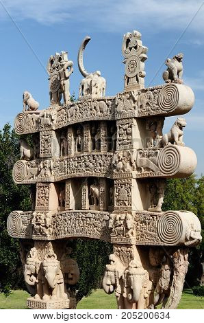 Great Buddhist Stupa in Sanchi Madhya Pradesh India. Detail of the gate
