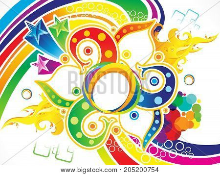 abstract artistic detailed rainbow explode vector illustration