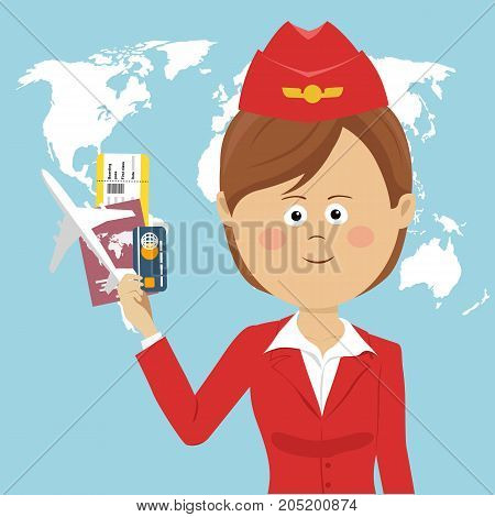 Cute air hostess in red uniform holding a passport, ticket, credit card and airplane model over global map