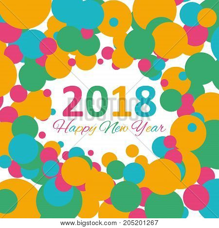 Happy New Year 2018 multicolor background for your greetings card illustration. EPS 10