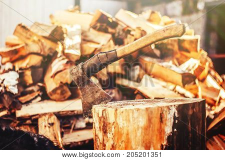 The ax is stabbed with a blade into the stump. Ax with wooden handle. against firewoos