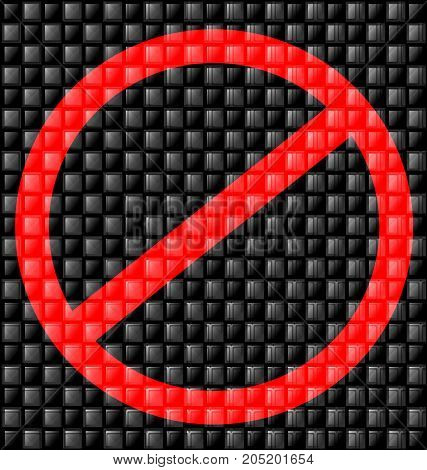 abstract colored background image consisting of lines with gray black glossy blocks and red sign prohibition