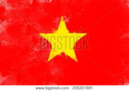 Flag of Vietnam by watercolor paint brush grunge style