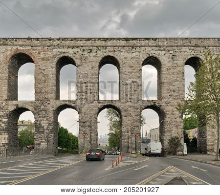 Istanbul Turkey - April 21 2017: Valens Aqueduct a Roman aqueduct which was the major water providing system of the Eastern Roman capital of Constantinople (Currently Istanbul)