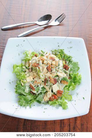 Caesar salad dish close up on plate