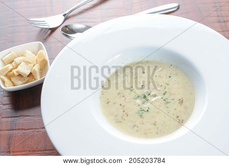 New England style clam soup and bread