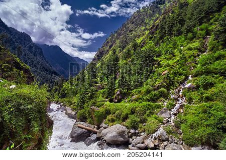 Landscape Of A Mountain River With Traditional Nature Of Kullu Valley. Naggar, Himachal Pradesh. Nor
