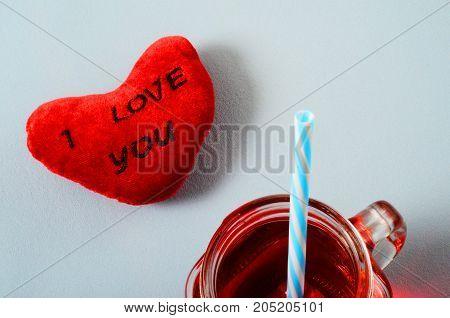 Heart I Love You And Grenadine Mug Glass