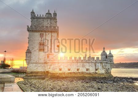 Belem tower at sunset in Lisbon, Portugal