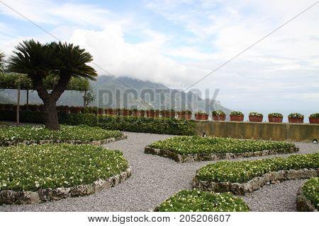 Green villa park in Ravello, Campania, Italy