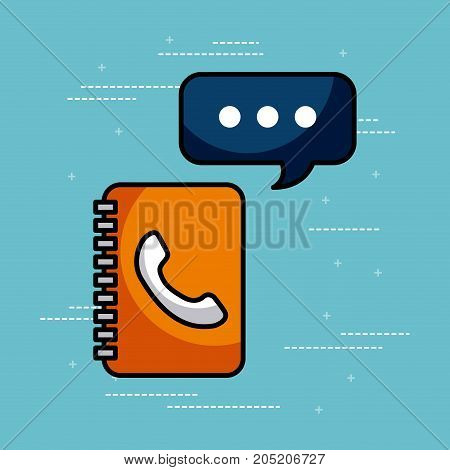 address book contac message call center customer service vector illustration