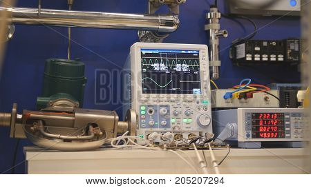 Industrial equipment - oscilloscope and electronic apparatus, close up