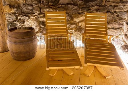 Relaxation Area Of A Private Sauna