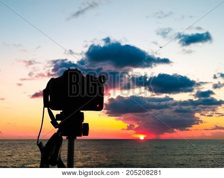 Dslr Camera Photographing Tuscany Hills. Dslr Camera Shooting On A Cityscape Sunset With Sea Reflect