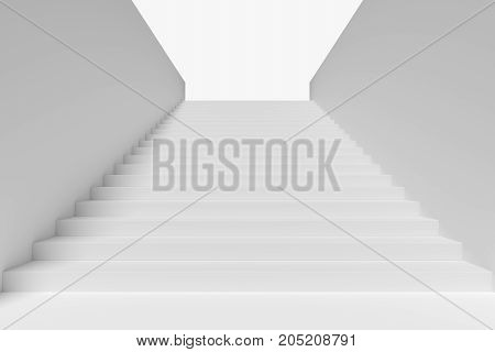 Long staircase with white stairs and walls and small shadow on left in underground passage going up to the light 3d illustration