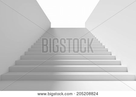 Long staircase with white stairs and walls and shadow on left in underground passage going upward 3d illustration.