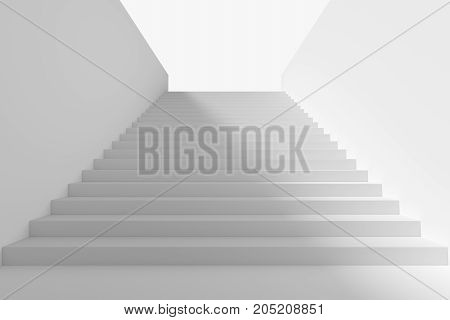 Long staircase with white stairs and walls and big shadow from light in underground passage going up to the light 3d illustration
