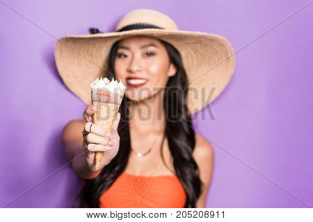 Asian Woman Holding Ice-cream