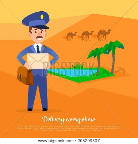 Delivery anywhere web banner. Post service world delivery picture with postman. Mailman in suit stands in desert near oasis with camels. Express mail at any weather conditions vector illustration
