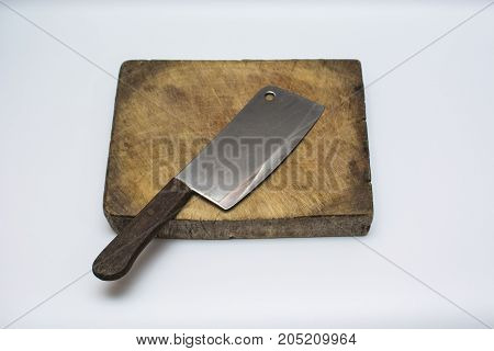 Cutting Board with Knife Isolated on white background.