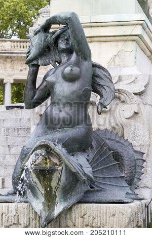 Madrid - Mythology Face From Fountain In Retiro Park