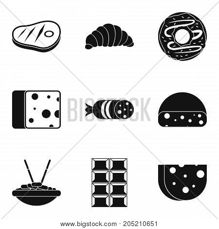 Delicious burger icons set. Simple set of 9 delicious burger vector icons for web isolated on white background