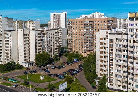 Moscow, Russia - September 20. 2017. multi-storey residential buildings and parking in a Zelenograd administrative district