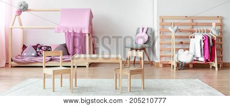 Pastel Pink Kid Room Interior