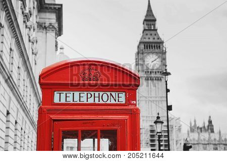 Red Telephone Box And Big Ben. London, Uk