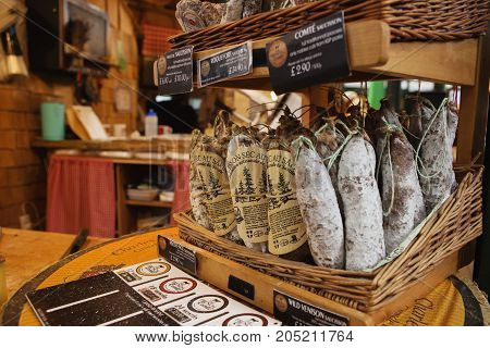 London - August 23, 2017: Saucissons On Borough Market In London. Saucissons Is Large Thick French S