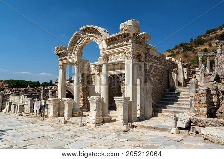 Temple of Hadrian in Ephesus ancient city, Selcuk, Turkey.