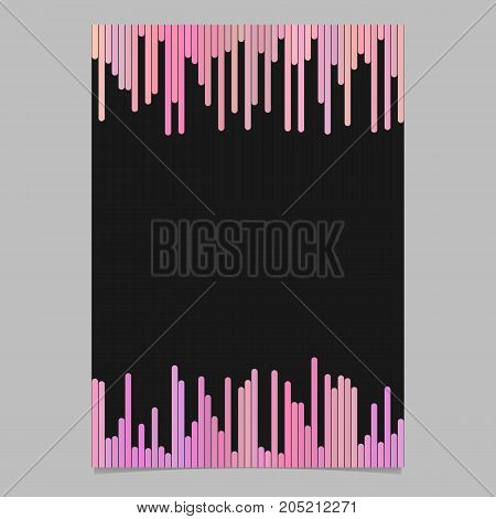 Brochure template - blank vector stationery, document design with rounded vertical stripes in pink tones on black background