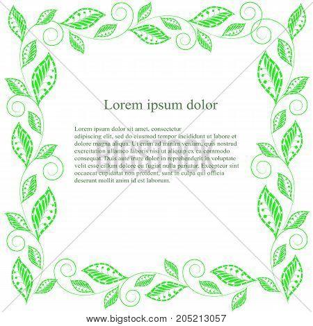 Green leaf square frame Lorem ipsum stock vector illustration