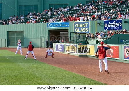 Boston - May 30: Starting Pitcher Jon Lester And Catcher Jarrod Saltalamacchia Warm Up Before Memori