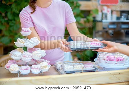 Pink Marshmallow In The Hands Of A Girl. Natural Sweetness Of Ho
