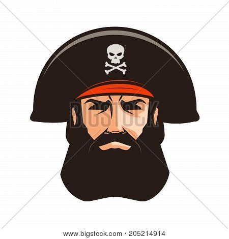 Pirate logo or label. Portrait of bearded man in cocked hat. Cartoon vector illustration isolated on white background