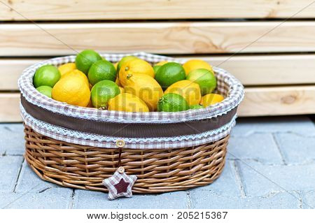 Baskets With Lemons In Outdoors Market Of Sorrento, Italy.