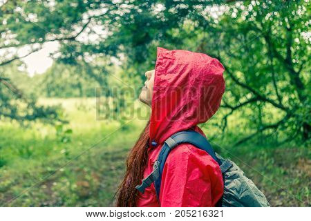 Side view of woman in hood and with backpack for walk at woods in summer afternoon
