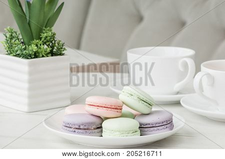 Cake In A Plate And A Cup On The Table