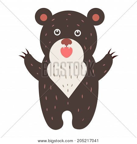 Cute brown bear cartoon sticker or icon. Funny gnarling bear standing on its hind legs isolated flat vector. Wild grizzly illustration outlined with dotted line for game counters, price tags