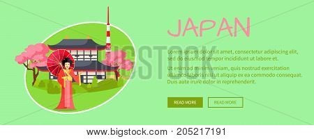 Japan conceptual web banner. Geisha with umbrella near pagoda in cherry blossom and Tokyo tower vector illustration. Horizontal concept with country national symbols for travel company landing page