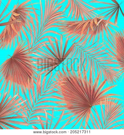 mix leaves of coconut palm tree background