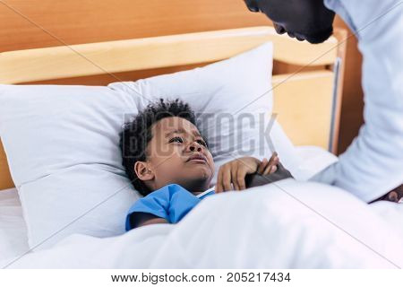 Crying African American Boy In Hospital